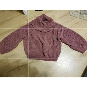Express chenille mauve cowl neck turtle cropped